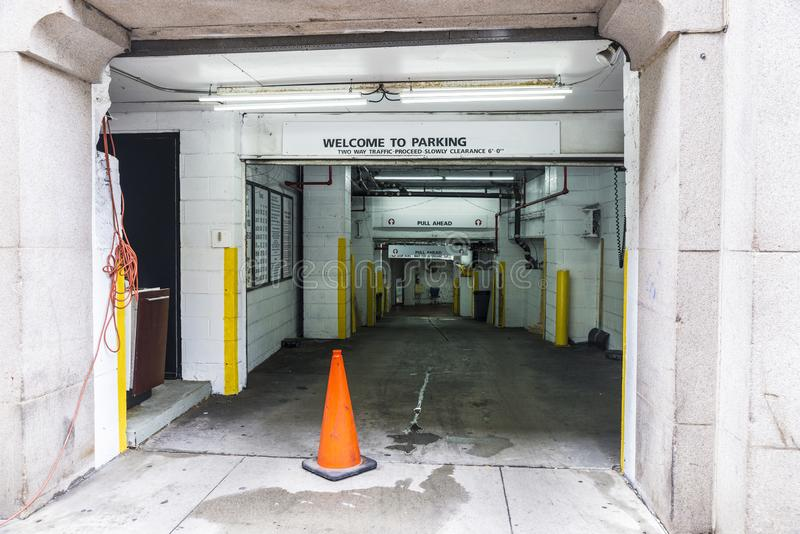 Entrance of an underground parking for cars in New York City stock image