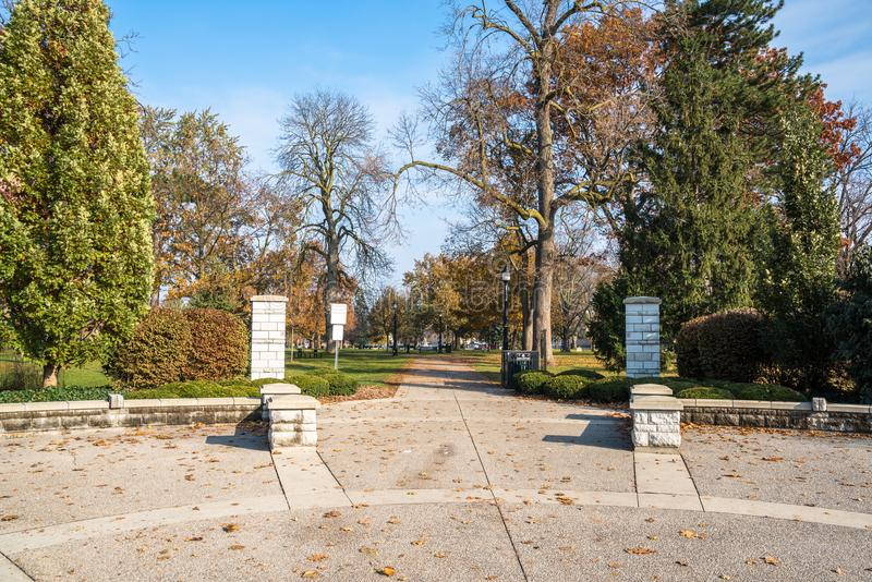 Entrance of Victoria Park in Downtown London, On, Canada. Entrance of a Public Downtown Park on a Clear Autumn Morning. London, On, Canada royalty free stock photos