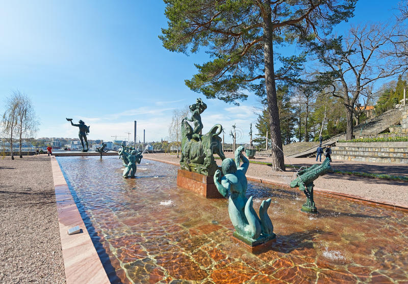 Entrance view at Millesgarden with statues of the sculptor Carl stock image