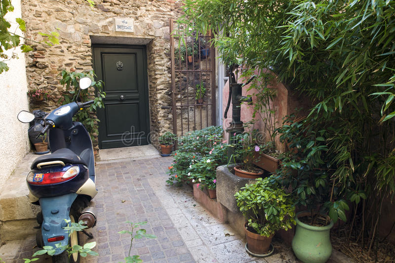 House entrance Collioure royalty free stock photo