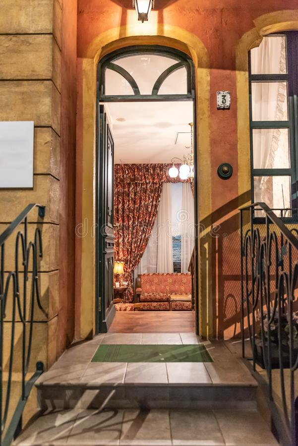 Free Entrance With A Fifties House Staircase, Vertical Image Royalty Free Stock Image - 126342236