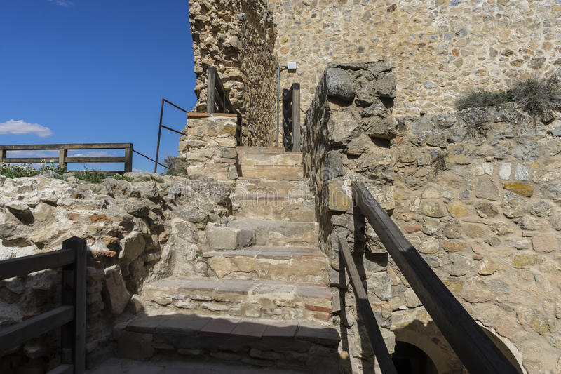 Entrance, Wooden stairs in a medieval castle. Town of Consuegra royalty free stock images
