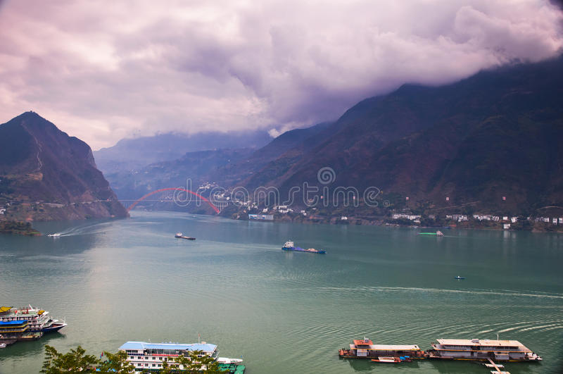 The entrance of Wu gorge. The Famous scenery of The Three Gorges at Yangtze river, China stock photo