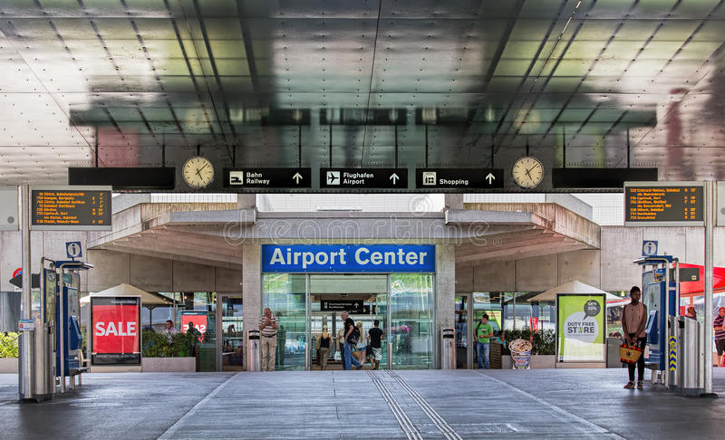 Entrance to the Zurich Airport stock image