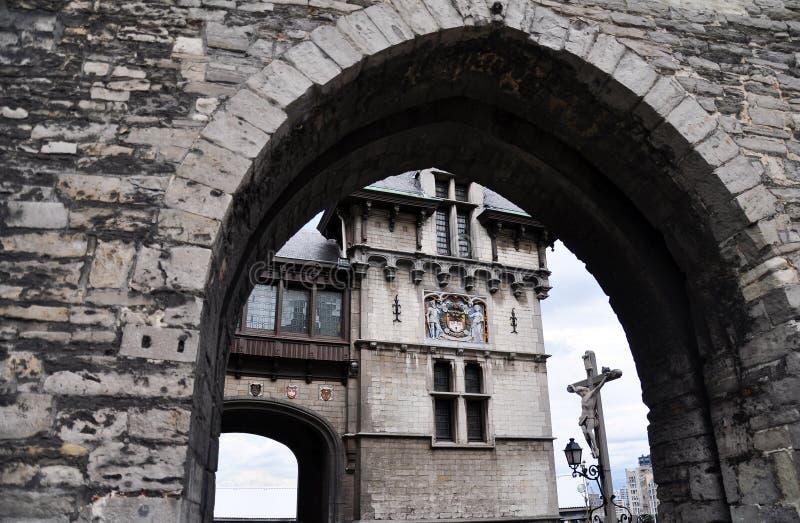 Entranceway Steen kasztel, Antwerp zdjęcia stock