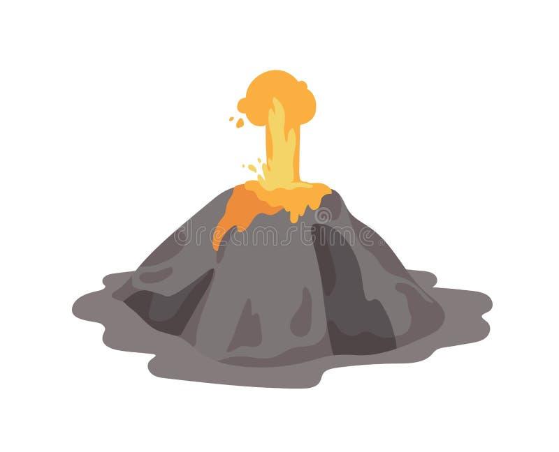 Entrando em erupção o vulcão com a fonte da lava que ejeta de uma cratera isolada no fundo branco Erup??o e s?smico vulc?nicos ilustração stock