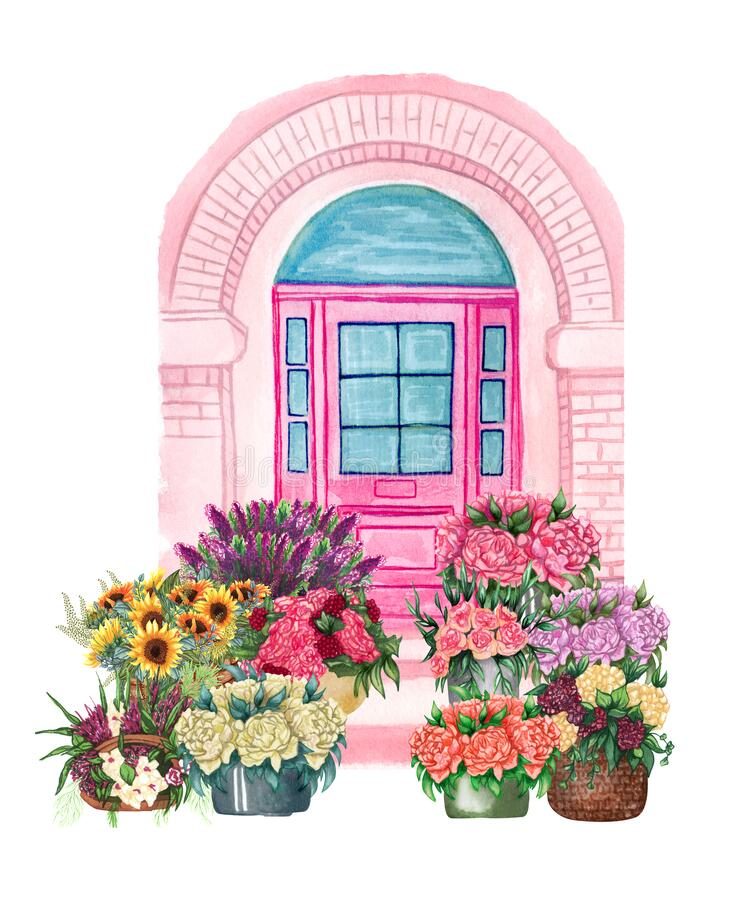 Free Entranse Door With Flowers. Buildind Illustration. Flower Delivery. Arcitecture Royalty Free Stock Photography - 205373797