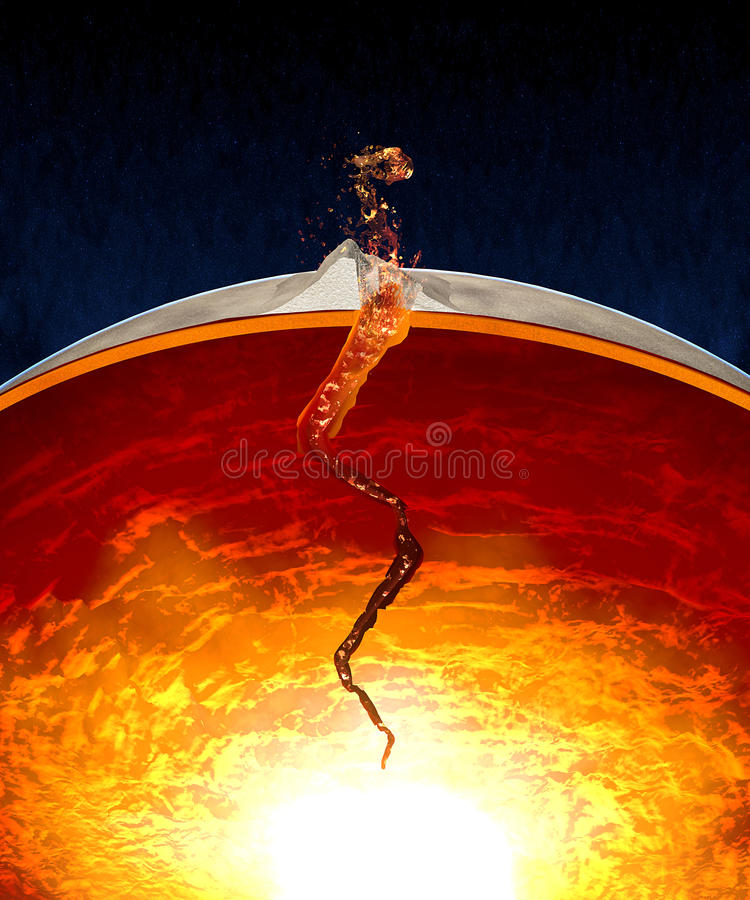 Entrar em erupção o vulcão e rachou o núcleo de terra ilustração do vetor