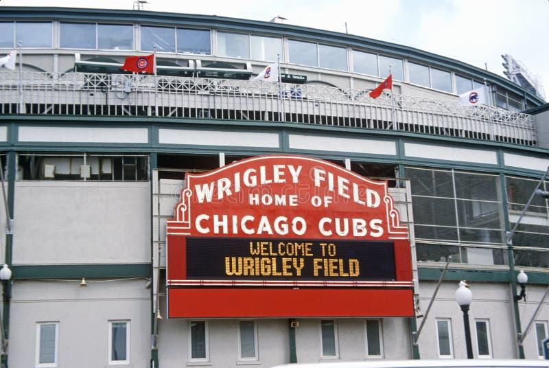 Entrata al campo di Wrigley, casa dei Chicago Cubs, Chicago, Illinois fotografia stock