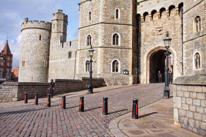 Entrata al castello di Windsor in Inghilterra immagine stock