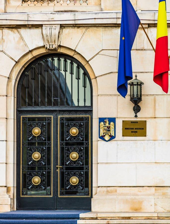 Entrata al Ministero degli Affari Interni, edificio del Ministero degli Affari Interni a Bucarest, Romania, 2019 fotografie stock libere da diritti