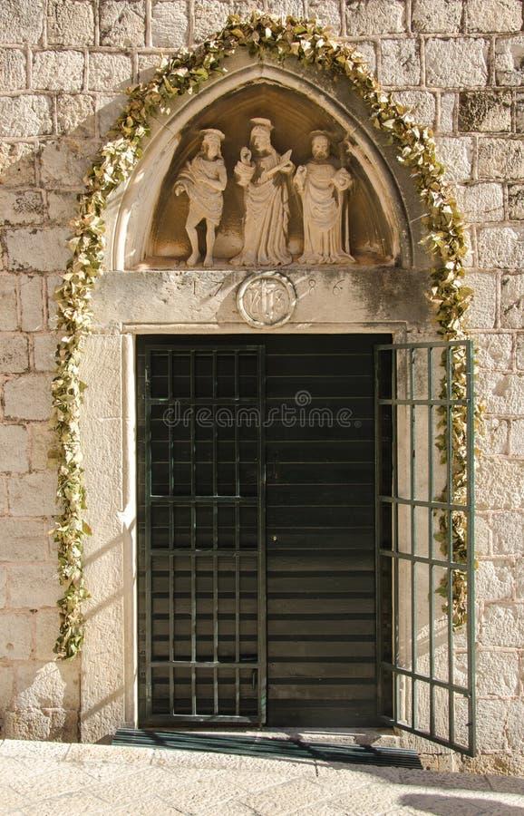 Entrata al monastero domenicano, Ragusa, Croazia fotografia stock