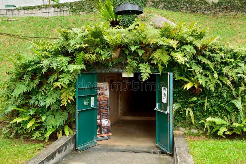 Entrata al museo della scatola di battaglia alla fortificazione che inscatola a Singapore fotografie stock libere da diritti