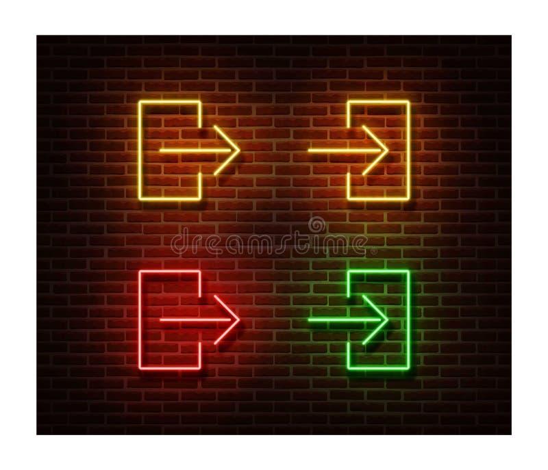 Entrata al neon, vettore dei segni dell'uscita isolata sul muro di mattoni Simbolo della luce di porta di direzione, EFF della de immagini stock