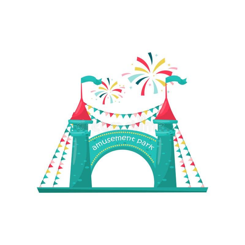 Entrata al parco di divertimenti dei bambini Due torri del mattone con il segno e decorate con le bandiere della stamina Progetta illustrazione vettoriale