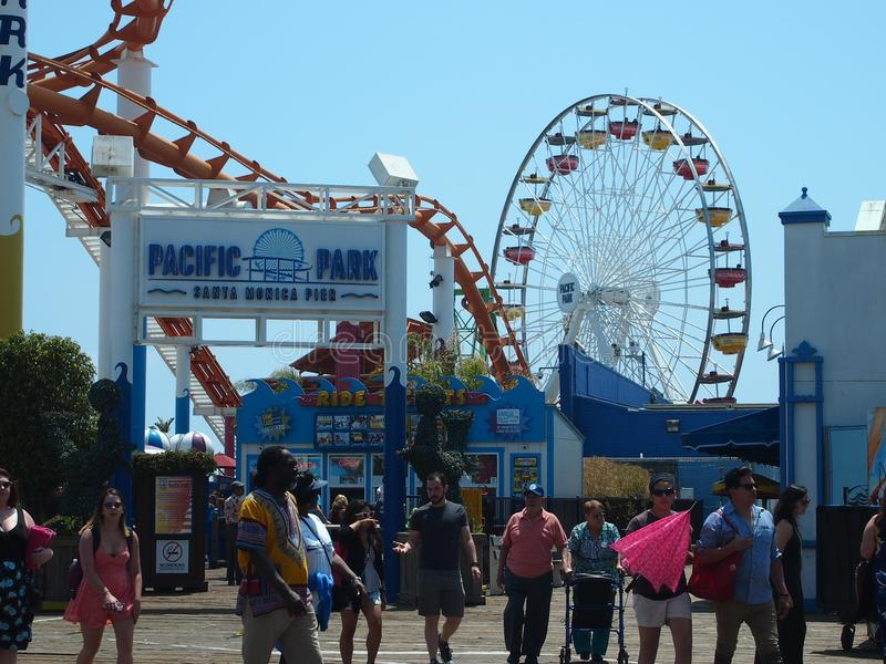 Entrata al parco pacifico Santa Monica Pier fotografie stock