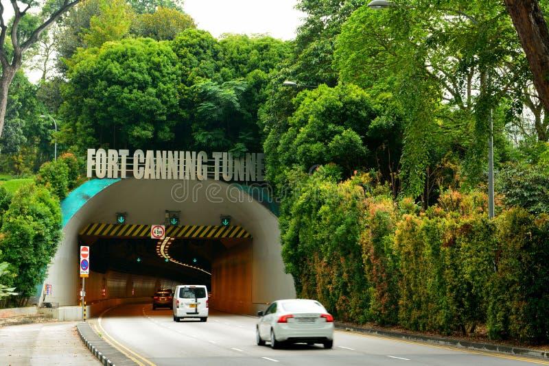 Entrata al tunnel d'inscatolamento forte a Singapore immagine stock libera da diritti
