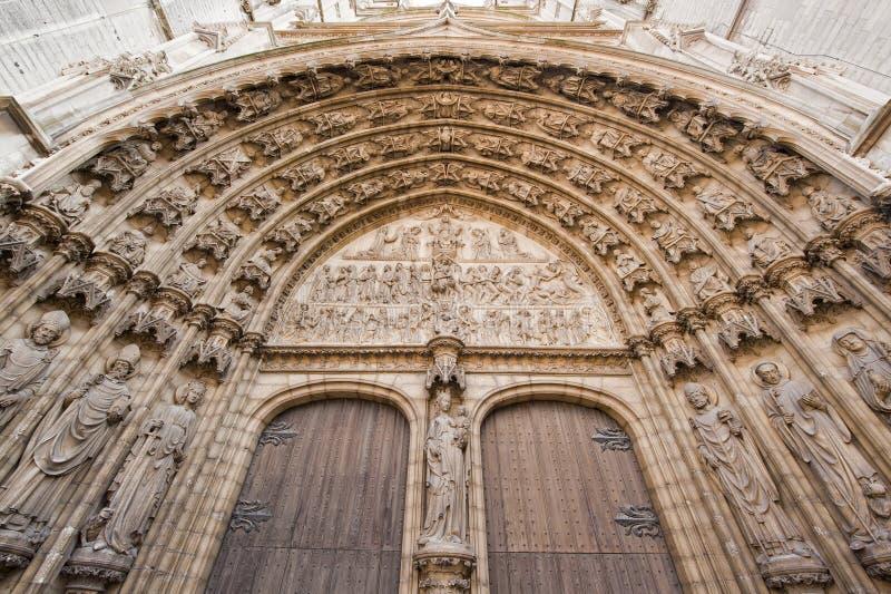 Entrata alla cattedrale della nostra signora a Anversa, Belgio fotografia stock libera da diritti