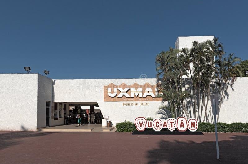Entrata alla città maya antica Uxmal di rovine Sito del patrimonio mondiale dell'Unesco, Yucatan, Messico fotografia stock libera da diritti