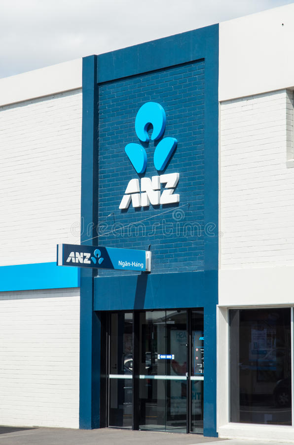 Entrata alla succursale bancaria di ANZ in Springvale, Australia fotografia stock
