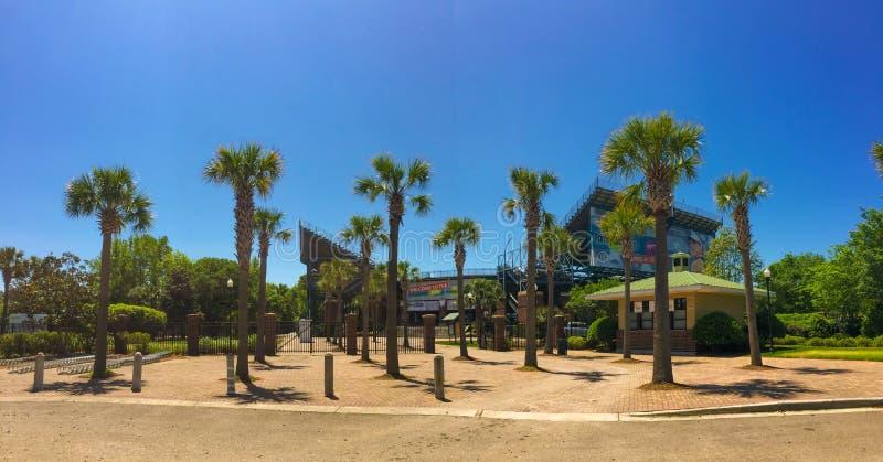 Entrata allo stadio di tennis del circolo famigliare, Daniel Island, Charleston, Sc immagine stock