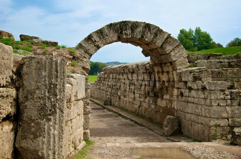 Entrata antica dello stadio, Olympia fotografie stock