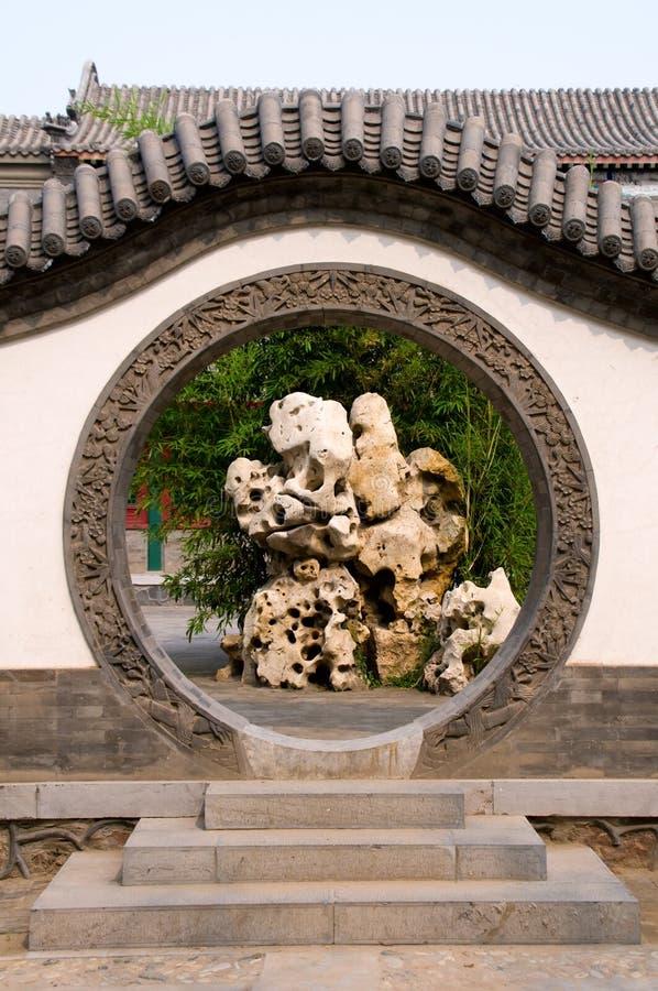 Entrata del cerchio del giardino cinese immagine stock