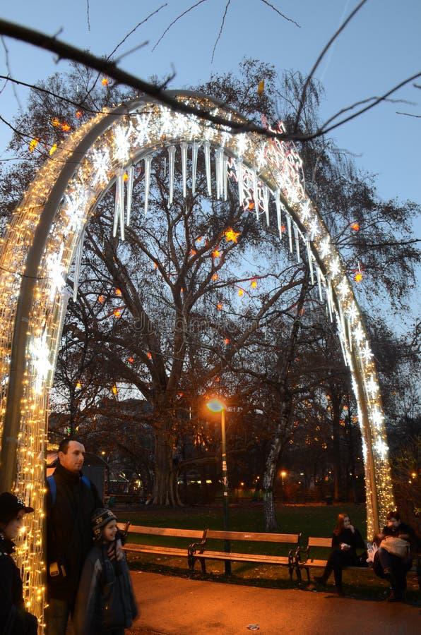 Entrata del mercato di Natale, Vienna immagini stock libere da diritti