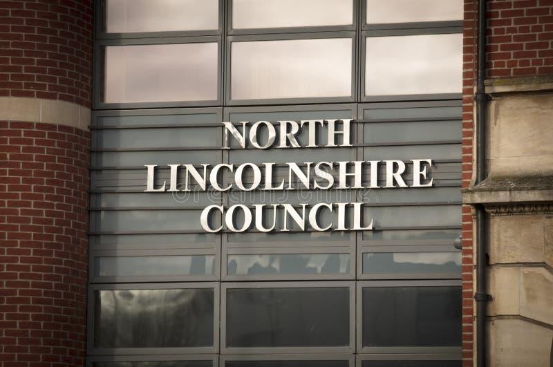 Entrata del nord della costruzione del Consiglio di Lincolnshire nel quadrato della chiesa - Scunthorpe, Lincolnshire, Regno Unit immagine stock