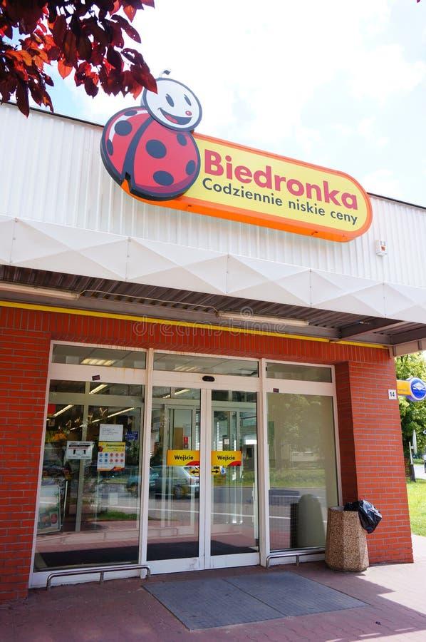 Entrata del supermercato di Biedronka immagine stock libera da diritti