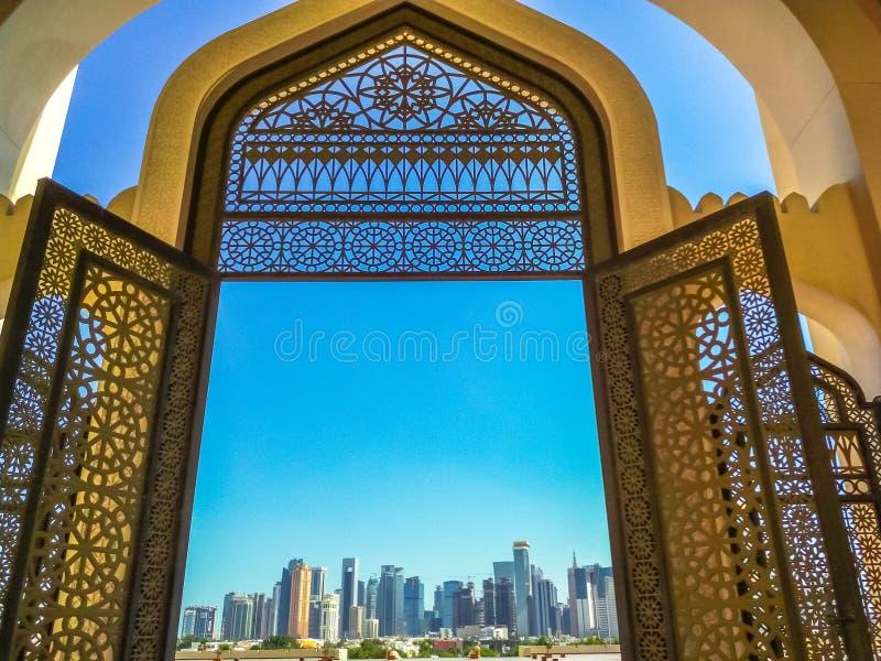 Entrata della moschea di Doha immagine stock