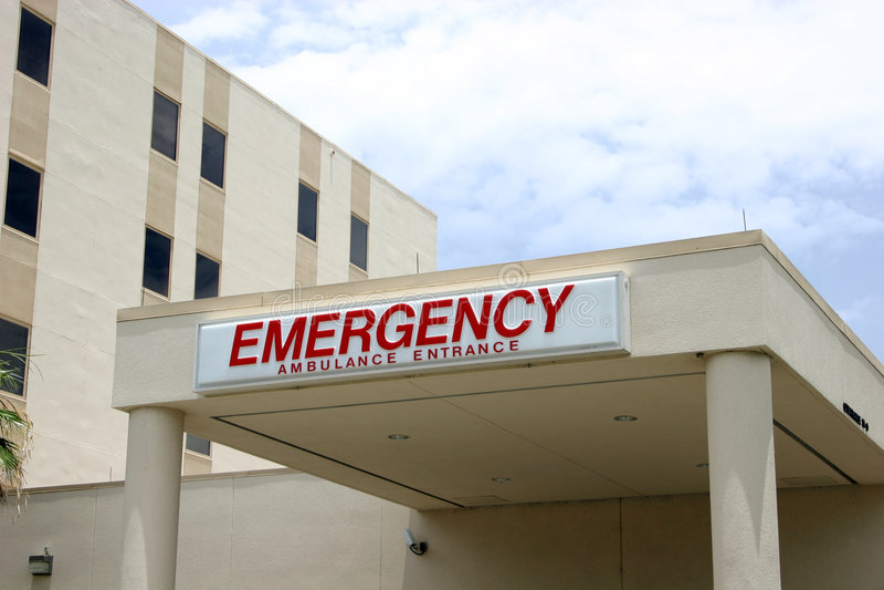 Entrata di emergenza dell'ospedale fotografie stock libere da diritti