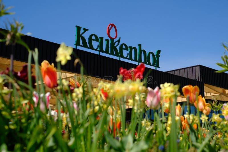 Entrata di Keukenhof con i tulipani, Paesi Bassi fotografia stock libera da diritti