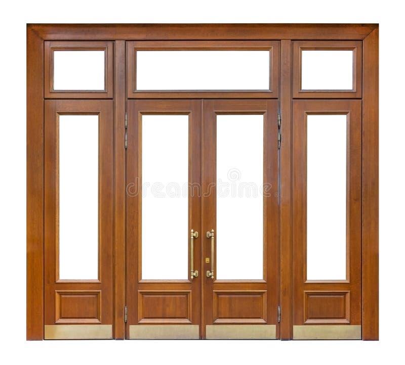 Entrata di legno con le finestre del ritaglio e doppia porta con le manopole dorate lunghe, isolate sull'elemento bianco di proge fotografia stock libera da diritti