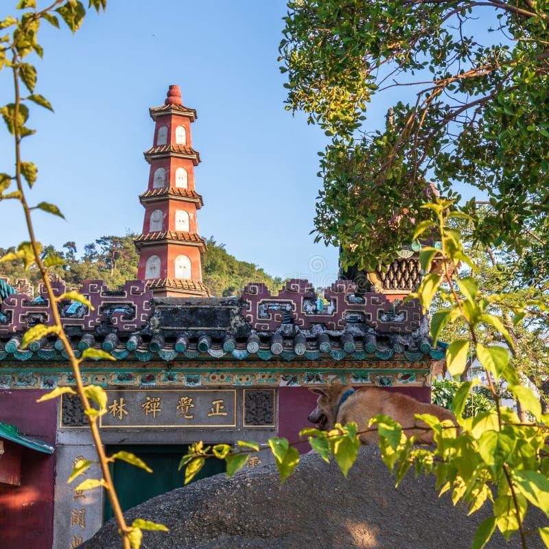 Entrata di A-ma Temple, Templo de A-Má alla marino dea cinese Mazu Sao Lourenco, Macao, Cina l'asia immagini stock