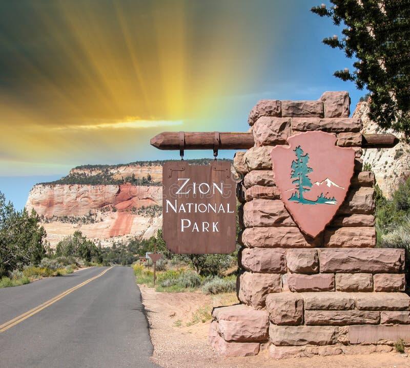 Entrata di Zion NP, U.S.A. immagine stock