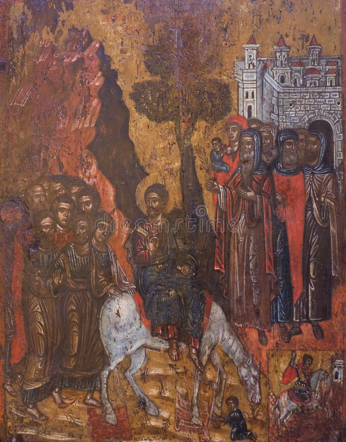 Entrata in Gerusalemme ed in San Giorgio - pittura antica fotografia stock libera da diritti