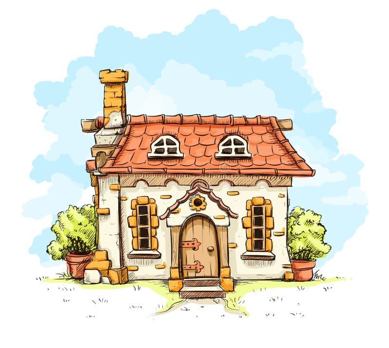 Entrata nella vecchia casa di fiaba con il tetto di mattonelle illustrazione vettoriale