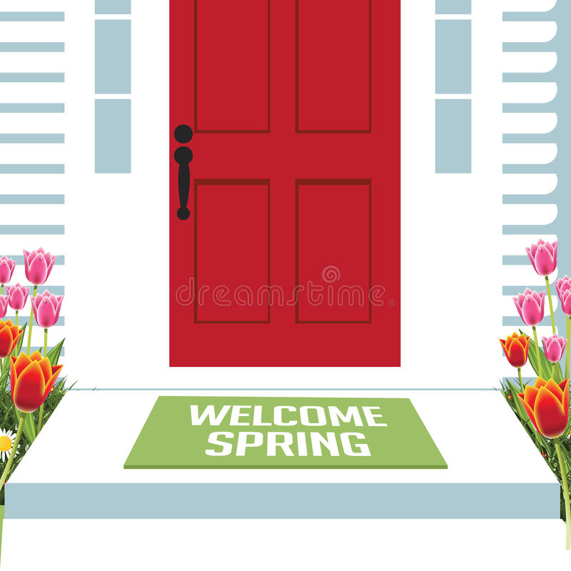 Entrata principale benvenuta della molla con i tulipani illustrazione di stock