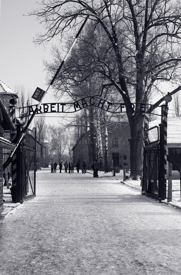 Entrata principale di Auschwitz, Polonia fotografia stock