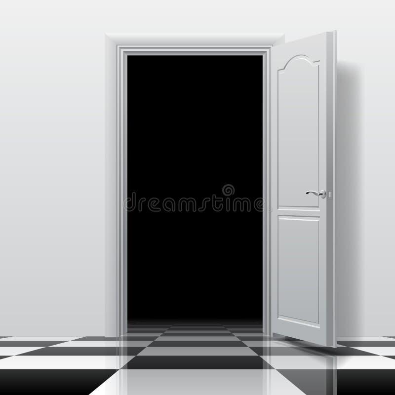 Entrata in una stanza scura con la porta aperta bianca sul che lucido illustrazione di stock