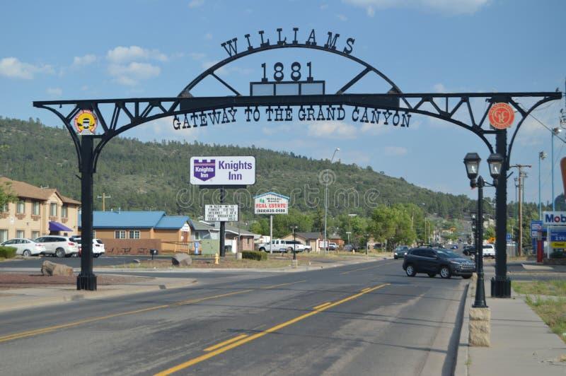 Entrata a Williams vicino a Grand Canyon fotografia stock libera da diritti