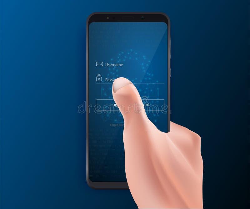 Entre ao app móvel, ao cybersecurity, ao acesso privado com username e à senha aos dados pessoais Vetor eps10 ilustração stock