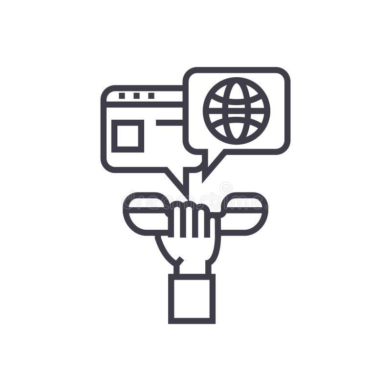 Entre en contacto con el teléfono a disposición con la línea fina icono, símbolo, muestra, ejemplo del vector del concepto de la  libre illustration