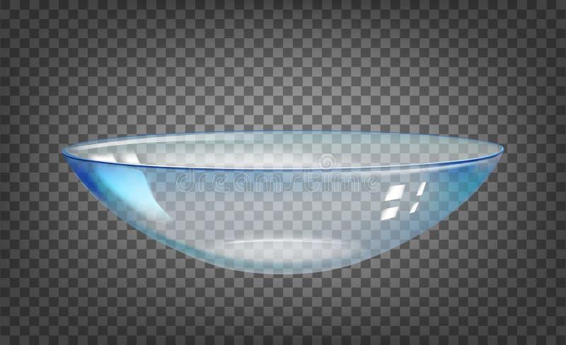 Entre en contacto con la lente sobre el fondo transparente negro Ejemplo de la ciencia con las lentes del cuidado del ojo libre illustration