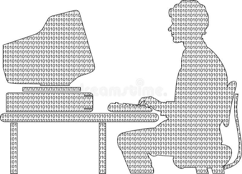Entre l'ordinateur et l'homme illustration libre de droits