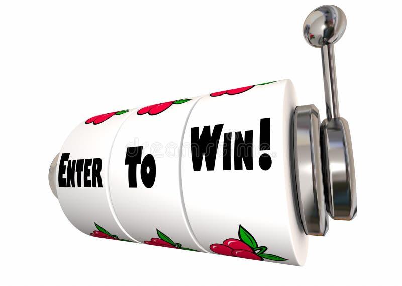 Entre para ganhar as rodas grandes do slot machine do jackpot da competição ilustração do vetor