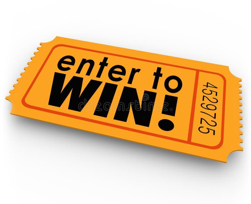 Entre para ganhar o jackpot da loteria do vencedor do bilhete da rifa ilustração royalty free