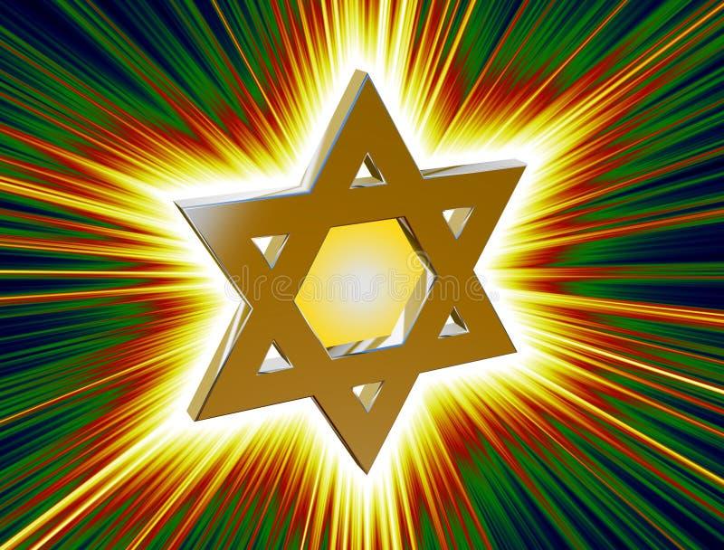Entre raios da estrela de David do ouro ilustração stock