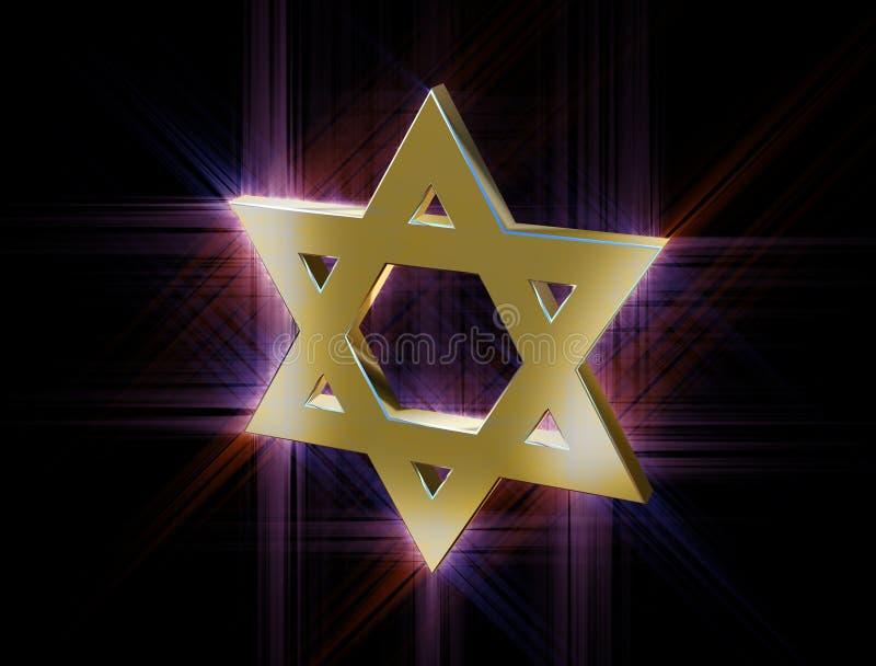 Entre raios da estrela de David do ouro ilustração do vetor